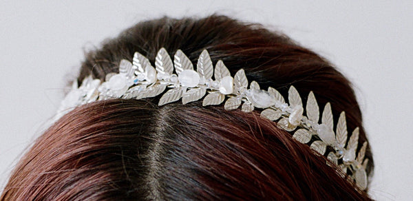 LEAVES OF THE MOON Rainbow Moonstone Silvered Leaves Headband Tiara