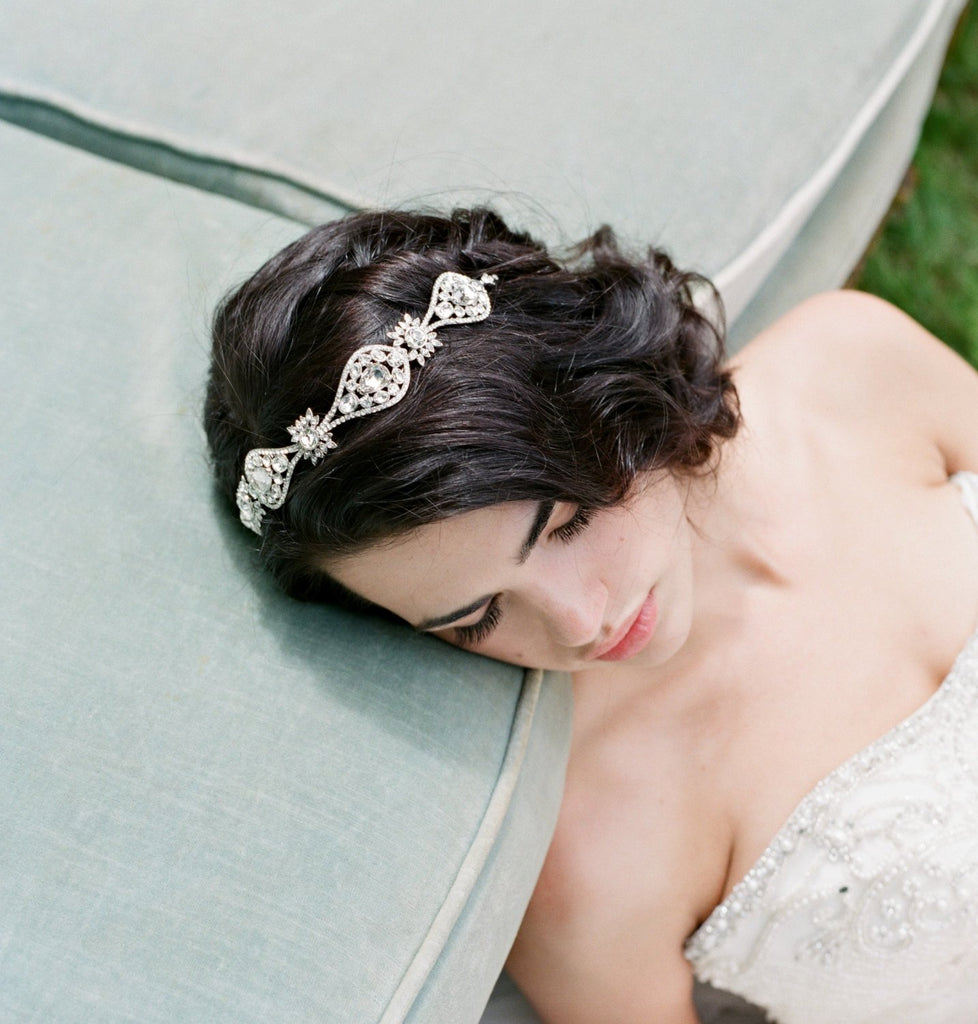 AGATHE Art Deco Bridal Headband Wedding Tiara