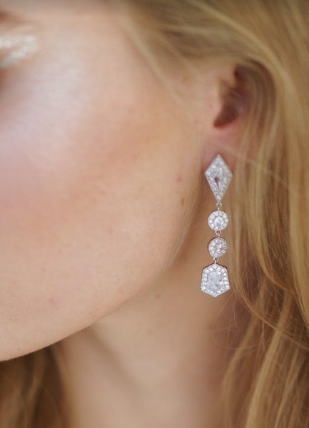 HOLLOWAY Simulated Diamond Drop Earrings