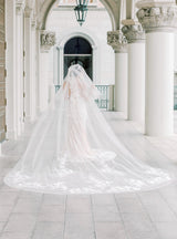 PERSEPHONE 3D Floral and Lace Cathedral Veil