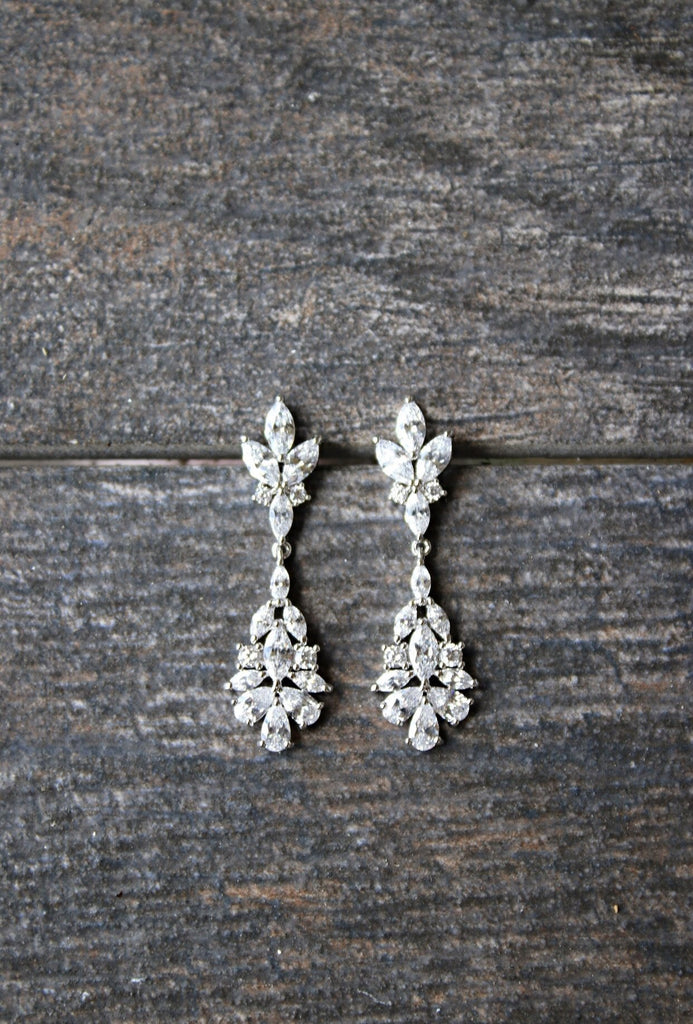 JESSICA Bridal Silver Drop Earrings