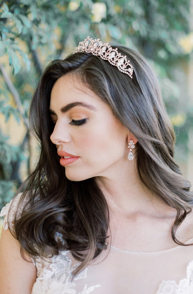 SERENA Rose Gold Crystal Wedding Tiara PAREUR SUITE