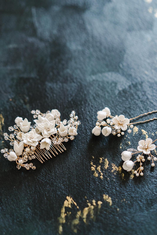 JULIA Porcelain Blooms Hairpin and Comb Set