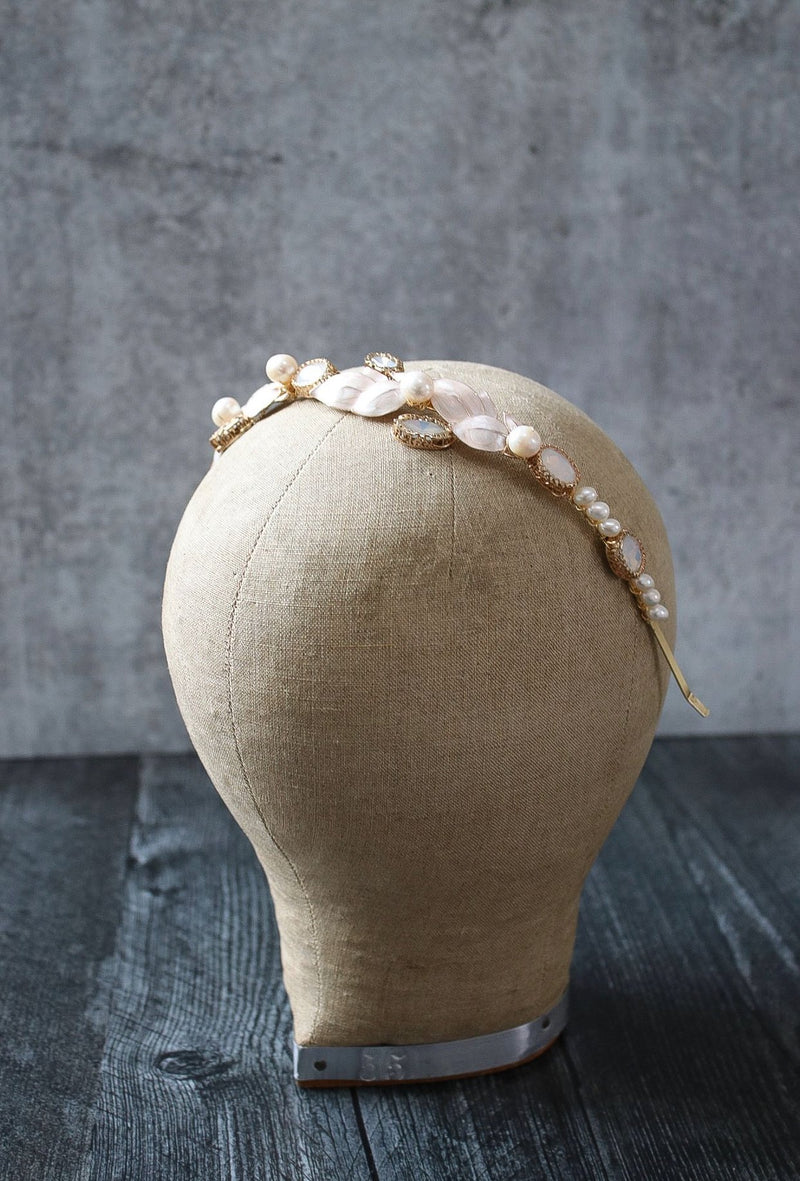 ANASTASIA Gilded Blush Enamel Leaves Bridal Headband