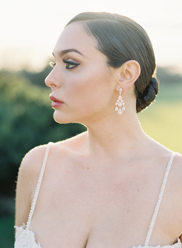 ISABELLA Rose Gold Bridal Chandelier Earrings