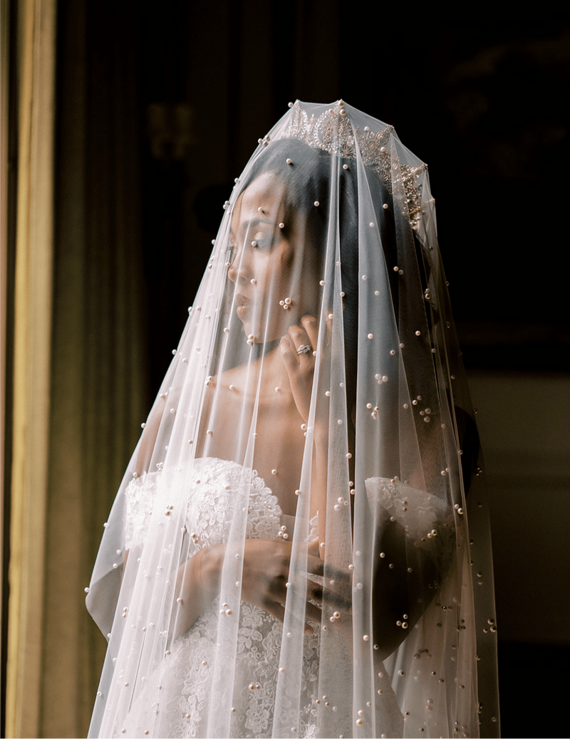 Bride Wearing Gold Crown and Veil | EDEN LUXE Bridal