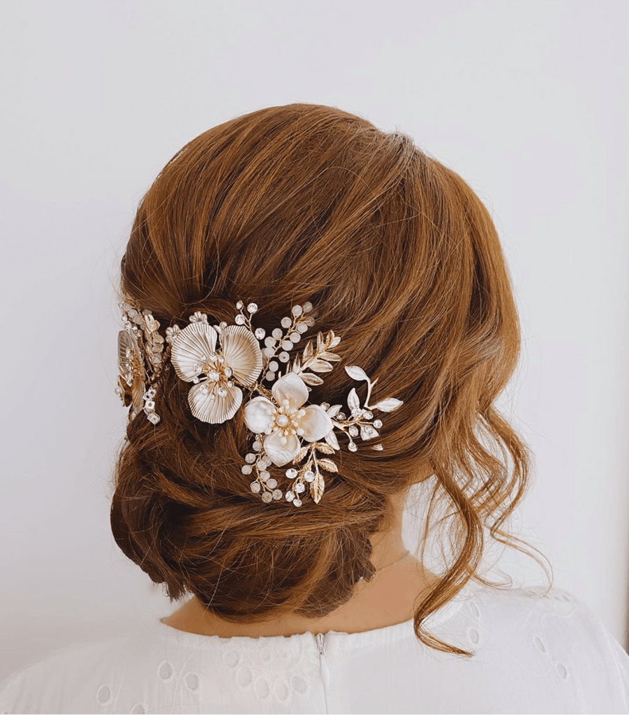Rose Gold Headpiece on Bride | EDEN LUXE Bridal