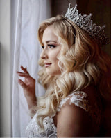 Bride wearing silver crown | EDEN LUXE Bridal