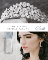 ELLINA Simulated Diamond Bridal Tiara PARURE SUITE