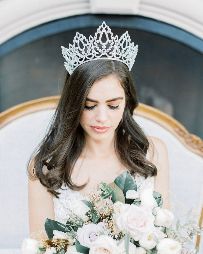 Bride wearing crown