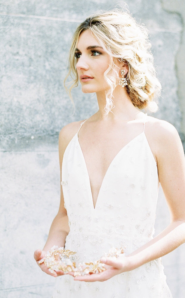 JULIET Gold Bridal Halo Headpiece