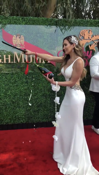 Pamlea Jean Noble on the red carpet in EDEN LUXE Bridal Headpiece