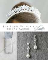 VICTORIA Pearl and Swarovski Crystal Wedding Tiara PARURE SUITE