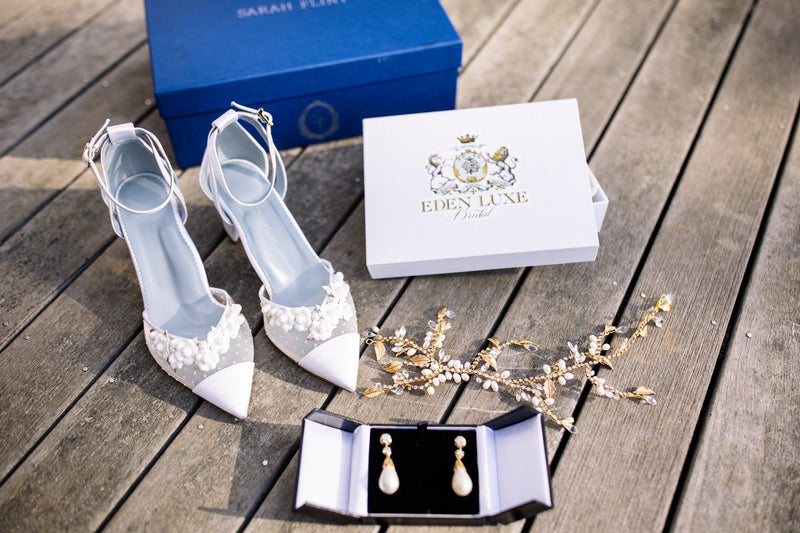 Sarah Flint Wedding Shoes and Headpiece | EDEN LUXE Bridal