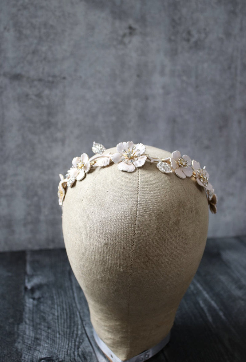 SERAPHINA Blush Floral Bridal Headband Headpiece