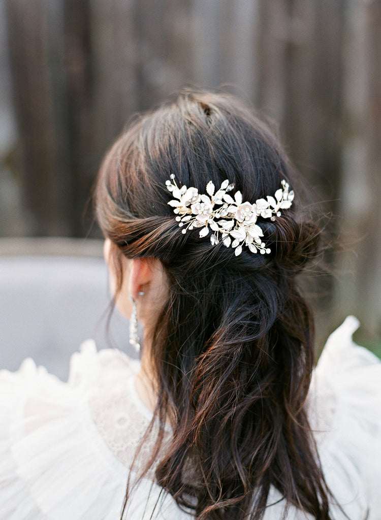 PHILLIPA Rose Gold Gilded Blossoms Bridal Headpiece