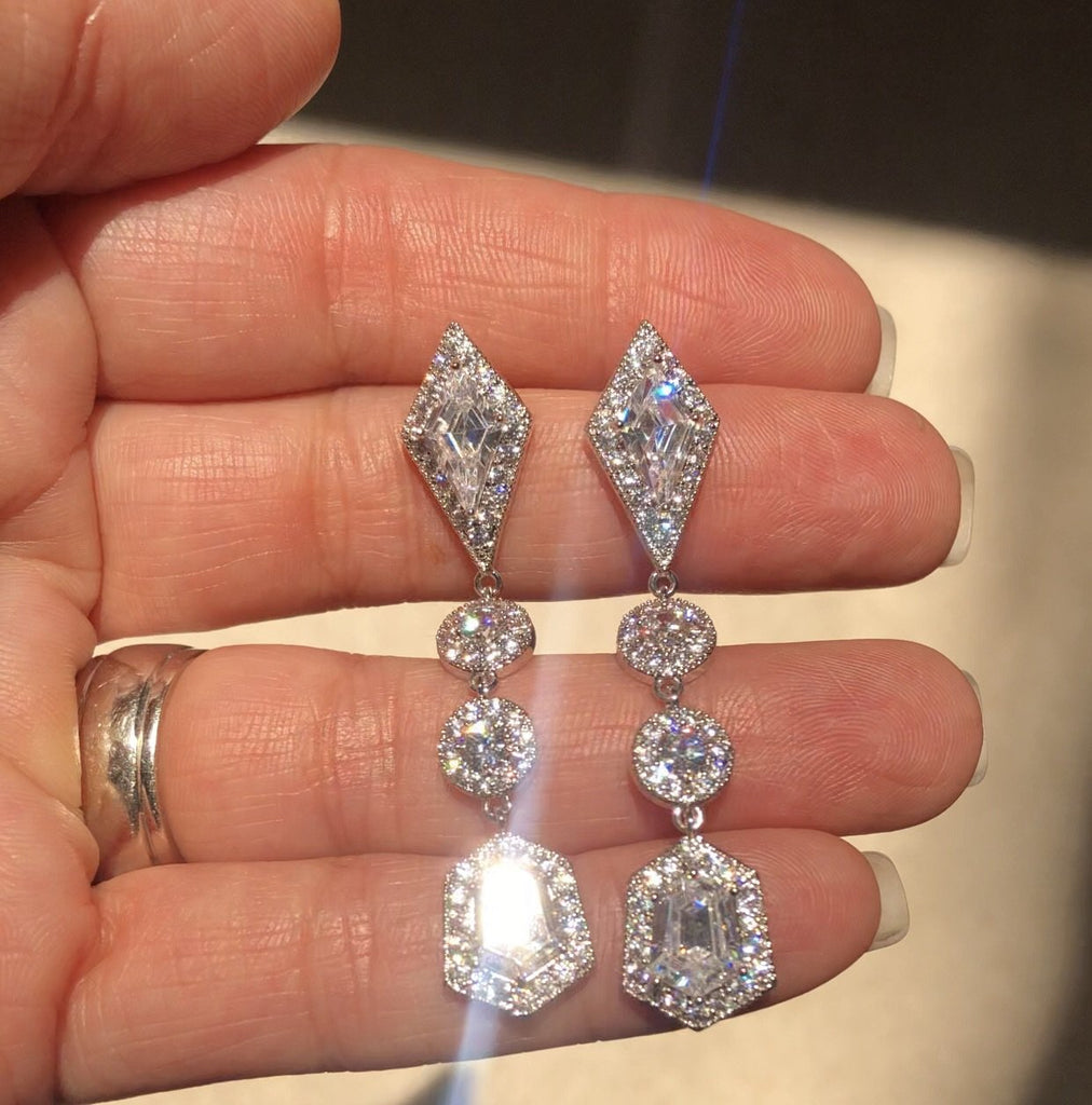 Bespoke DESIREE Simulated Diamond Drop Earrings