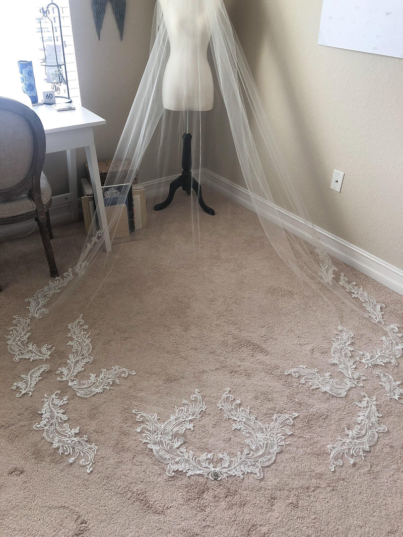 HEATHER Lace Applique and Crystal Cathedral Veil