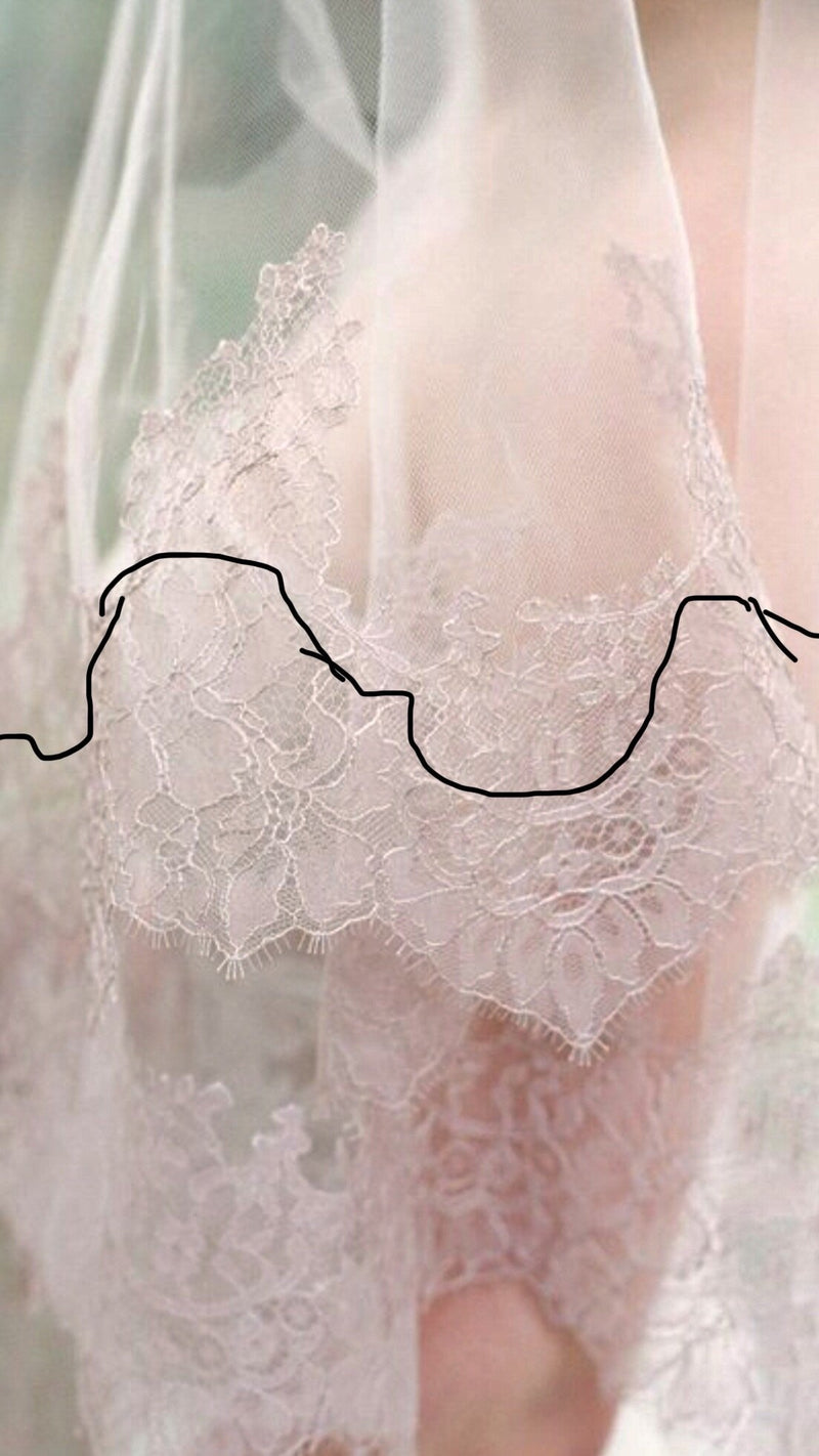 Silk Tulle Chantilly Lace Drop Veil - KATE Veil