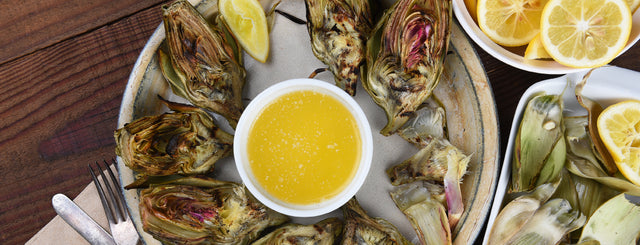 Grilled Artichokes with Lemon Garlic Vinaigrette