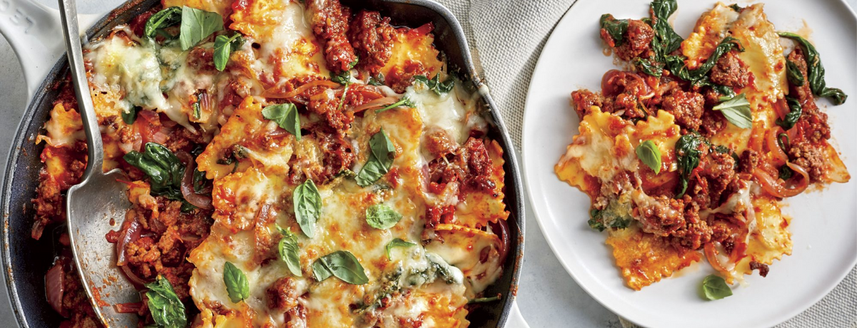 Baked Ravioli with Swiss Chard and Cheese