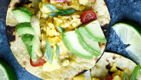 Breakfast Tacos with Green Chili Lime