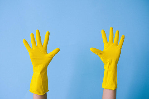 Rubber Kitchen Cleaning Gloves in Yellow
