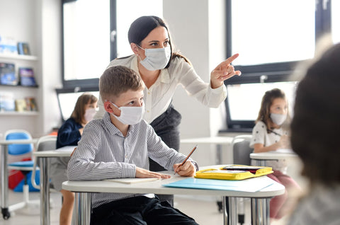 Teacher and Student with Face Coverings
