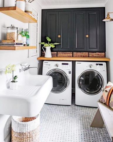 Washer and Dryer in Black and White Styled Laundry Room