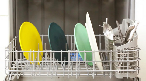 Dishes in Dish Rack of Dishwasher