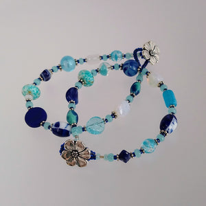 Button Bracelet - Blues Dark & Bright