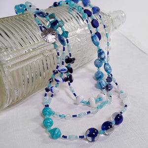 Super Long Necklace ~ Navy, Aqua, White - Vintage Glass