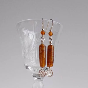 Spiral Drop Earrings ~ Vintage Flame-work Glass
