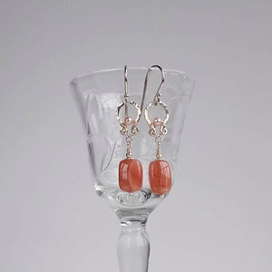 Petite Halo Earrings ~ Rhodochrosite & Freshwater Pearl