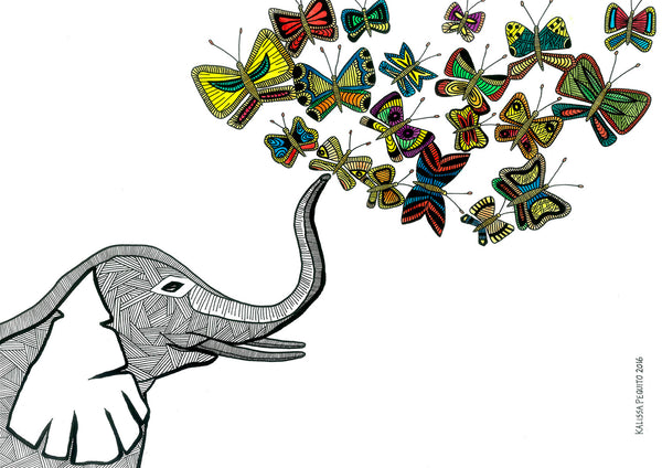 Print ELEPHANT AND BUTTERFLIES (2017)