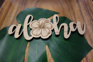 "Aloha Hibiscus - 7"" Wood Cut Out Sign"