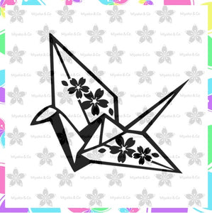 "3"" Vinyl Decal - Origami Crane with Sakura"