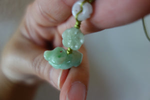 2021 Year of the Ox Jade Prosperity Lucky Charm with Good Health Peach + Coin