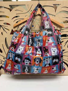 Reusable + Foldable Tote Bag - Doggies