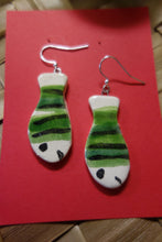 Load image into Gallery viewer, Green Striped Fish Earrings