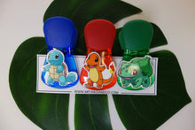 Load image into Gallery viewer, Magnetic Clips, Set of 3 - Squirtle, Charmander + Bulbasaur