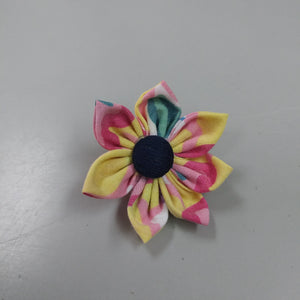 Kanzashi Style Fabric Flower Brooch Pins - Yellow + Pink