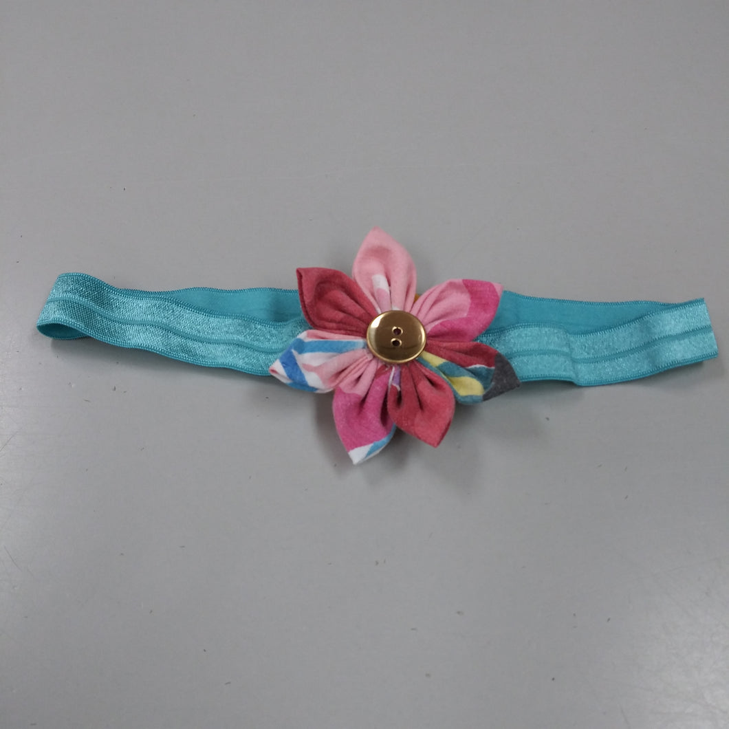 Kids' Elastic Hairband with Flower - Blue with Pink