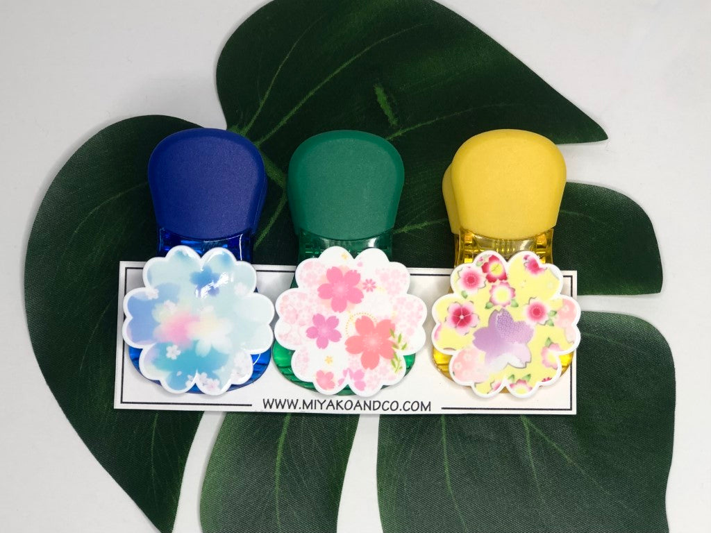 Magnetic Clips, Set of 3 - Sakura (Cherry Blossoms), Pastel