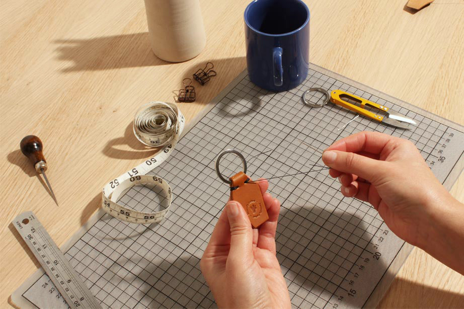 make your own leather keyring