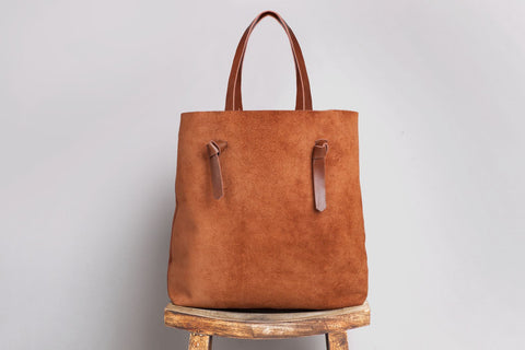 brown suede leather tote bag