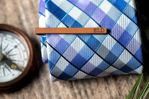 brown leather tie clip