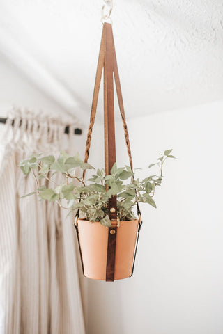 Braided Leather Plant Hanger