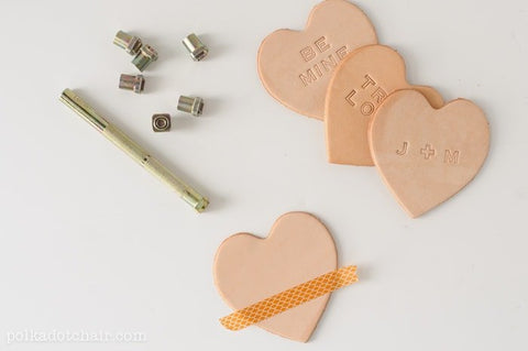 DIY Leather stamped conversation hearts London UK