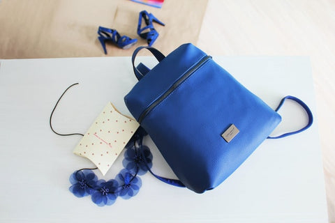 blue leather bag diy backpack uk london artisans minimalist
